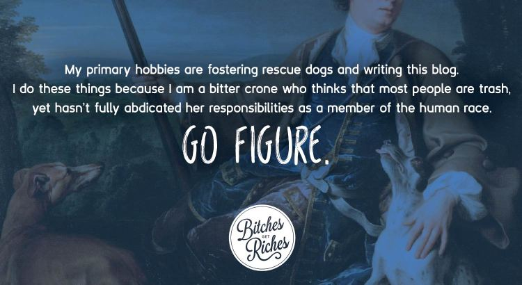 My primary hobbies are fostering rescue dogs and writing this blog. I do these things because I am a bitter crone who thinks most people are trash, yet has not fully abdicated her responsibilities as a member of society. Go figure.