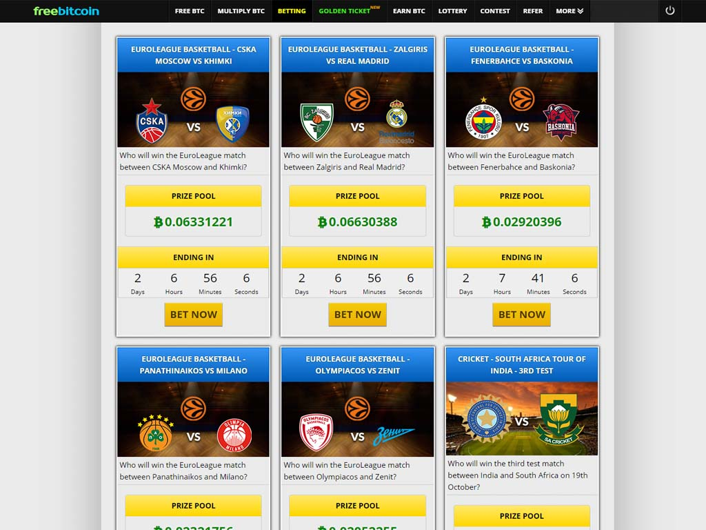Bettings on freebitco.in where you can bet using your bitcoin.