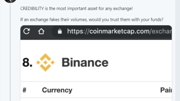 Binance CEO Slams CoinMarketCap's Top Crypto Exchanges on Highest Volume 3