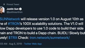 Justin Sun Plays Santa for Tron [TRX] Hodlers, Announces SUNNetwork's Version 1.0 Release 1
