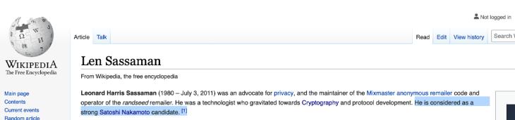 The Many Facts Pointing to Cypherpunk Len Sassaman Being Satoshi Nakamoto