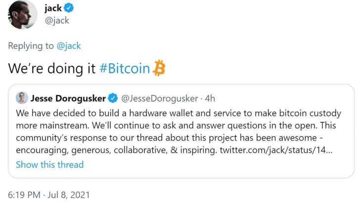 Jack Dorsey's Square Building Bitcoin Hardware Wallet to Make Crypto Custody More Mainstream