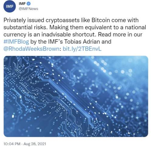 IMF: Bitcoin Is Privately Issued Crypto With Substantial Risks, Inadvisable as Legal Tender