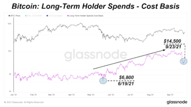 bitcoin long term holder spends cost basis
