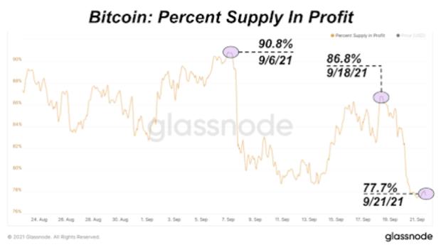bitcoin percent supply in profit