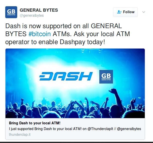 Bitcoin automaty General Bytes podporujú Dash