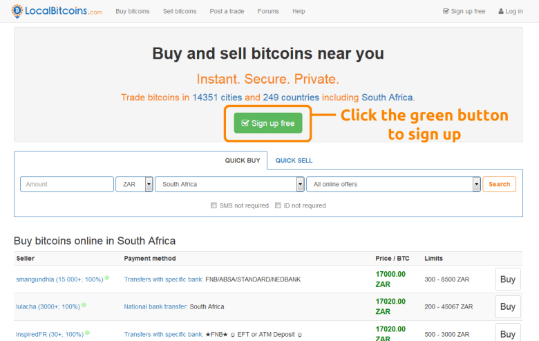 Localbitcoins South Africa, sign up