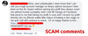 Scammer comments on Facebook