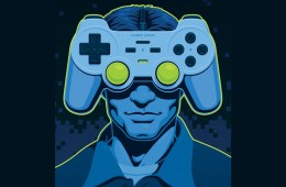 gamer controller head illustration by christopher whetzel