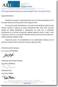 Lettera ringraziamenti relatori moderatori AIIC