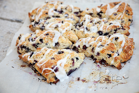 wild blueberry scones with lemon glaze