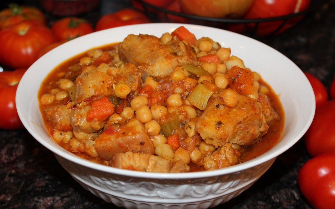 Chickpeas with pork belly stew