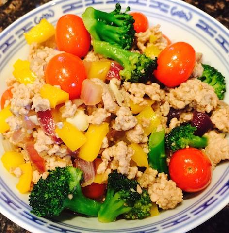Pork primavera: Ground pork with mixed vegetables