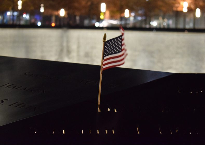 US flag in the World Trade Center memorial 9/11