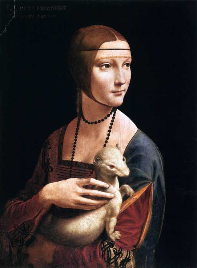 Portret Cecilie Gallerani, Dame s hermelinom, Leonardo da Vinci, 1488-1490, Muzeum Czartoryskich, Krakov | Foto: Wikimedia