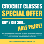 CROCHET CLASSES SPECIAL OFFER – BUY 2 GET 3RD HALF PRICE