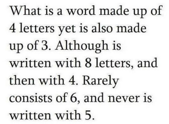 What is made up of 4 letterss