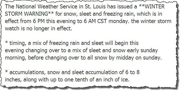 Winter storm warning 030114