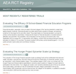 The AEA Registry is a Registration Platform for Pre-analysis Plans of RCTs in Economics and Other Social Science Disciplines
