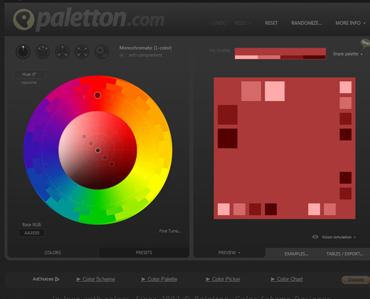 paletton color scheme webapp