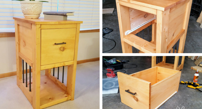 DIY Nightstand with Rebar Accents