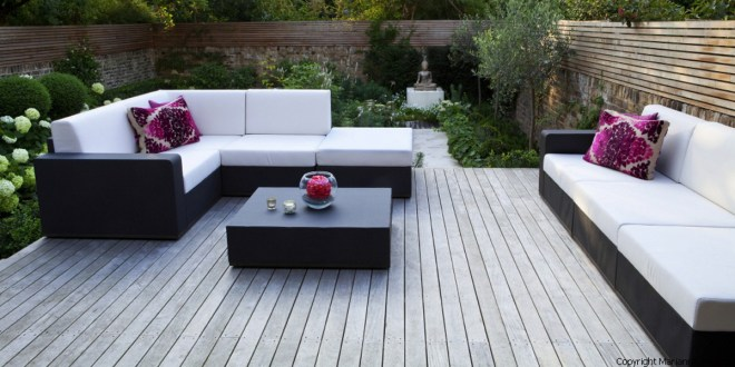 Contemporary table and chairs on terrace