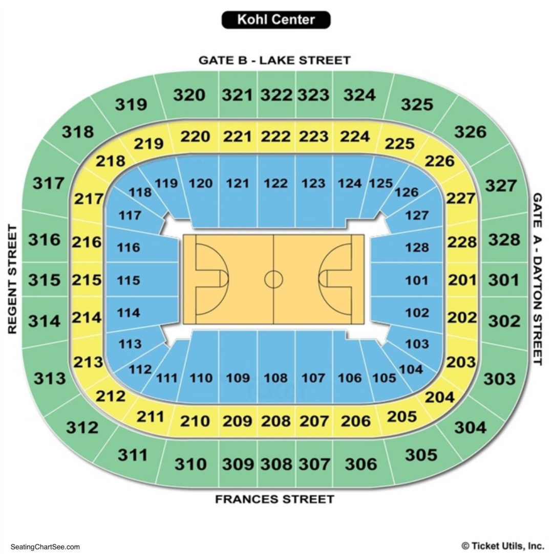 Chart Kohl Center Parking Seating And