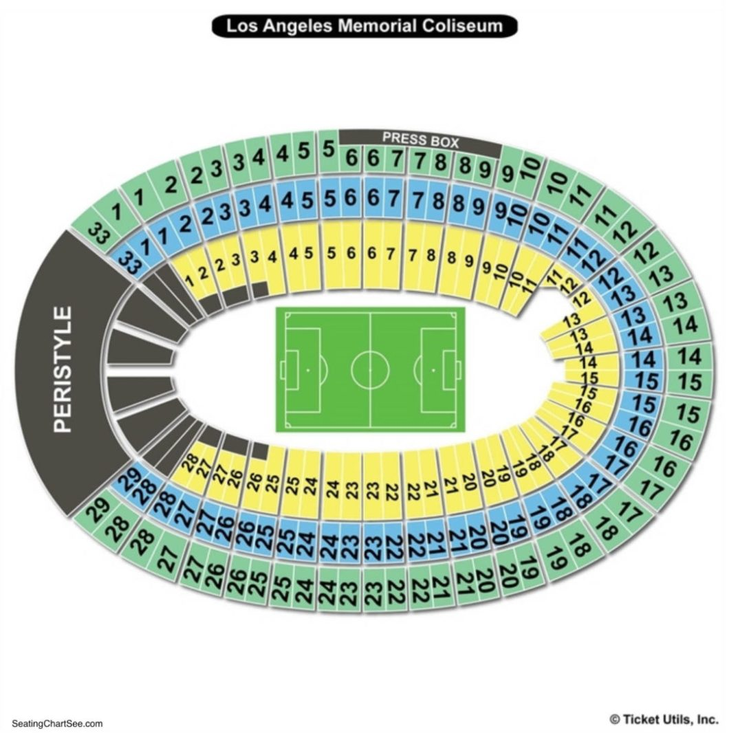 Los Angeles Memorial Coliseum Seating Chart Charts Tickets