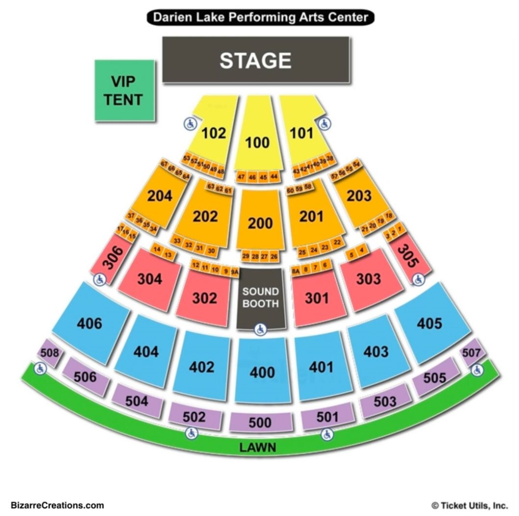 Darien Lake Performing Arts Center Seating Map | Wallseat.co on