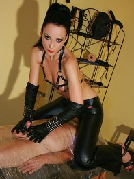 Cruel Mistress Liza Dominates a Mummified male slave