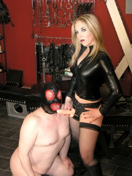 Cruel Mistress Sidonia Trashes and Fucks a hooded slave in the Dungeon