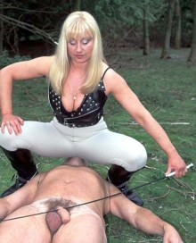 Hot Equestrian Mistress Disciplines and Facesits a naked male slave