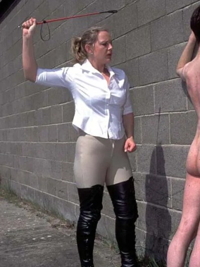 Hot Riding Mistress in High Heels Whips, Slaps and Trashes Her slave