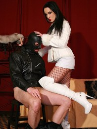 Sexy Mistress Liza in Boots Trashes and Humiliates a hooded male slave