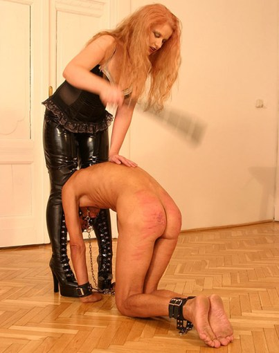 Sexy Redhead Dominatrix Flogs and Humiliates Her ball gagged slave