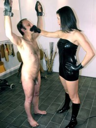 The Hunteress Gets her Boots Licked and Whips a slave