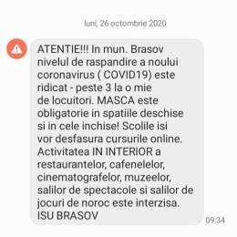 RO-ALERT Municipiul Brașov a trecut de o rată de transmitere COVID-19 de 3 cazuri la mia de locuitori. Se închid restaurantele și școlile