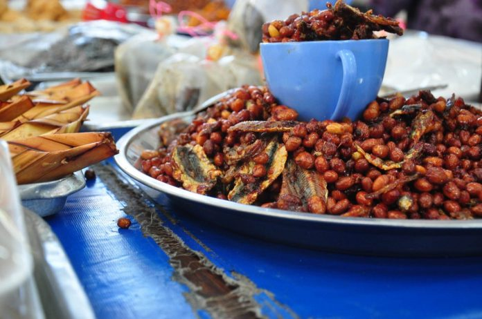 Anchovies cooked with peanuts and chilli, a popular traditional Bruneian snack.