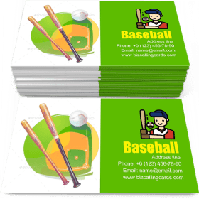 Baseball and Crossed Bats Business Card Template