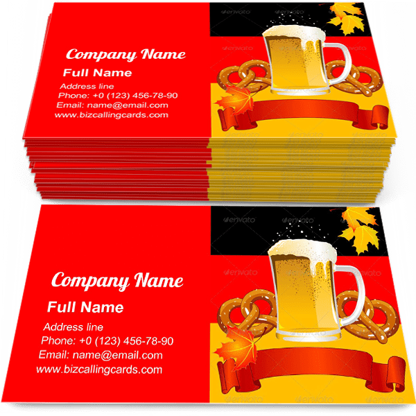 Sample of Bavarian Culture calling card design for advertisements marketing ideas and promote oktoberfest branding identity