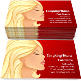 Beautiful and young woman Business Card Template