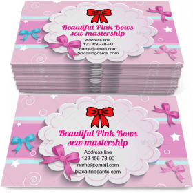 Beautiful pink Bows Business Card Template