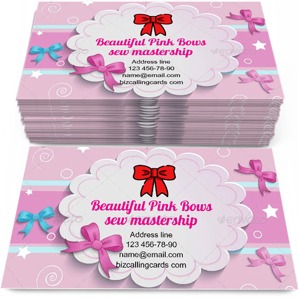 Sample of Beautiful pink Bows calling card design for advertisements marketing ideas and promote sew mastership branding identity