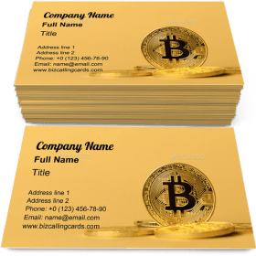 Bitcoin in pile of coins Business Card Template