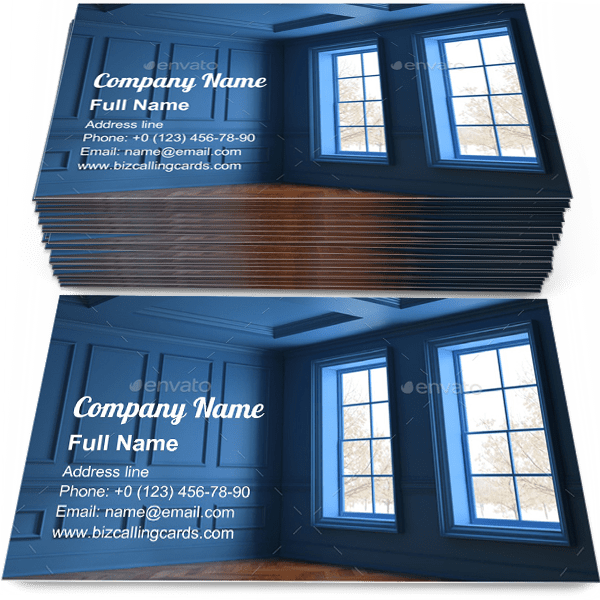 Sample of Blue Interior empty room calling card design for advertisements marketing ideas and promote contemporary decor branding identity