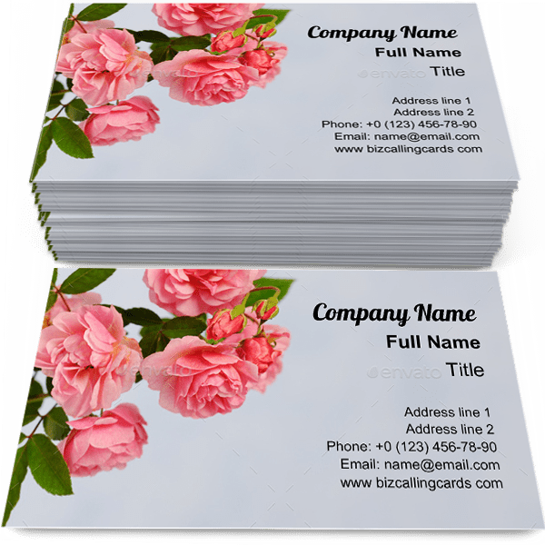 Sample of Branch of pink climbing rose calling card design for advertisements marketing ideas and promote floral branding identity