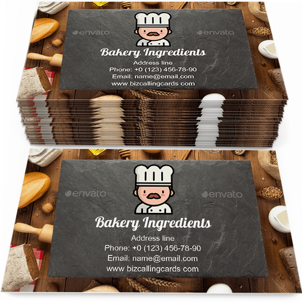 Sample of Bread and bakery ingredients calling card design for advertisements marketing ideas and promote bake store branding identity