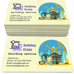 Building crane and excavator Business Card Template