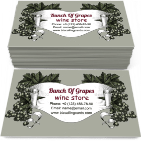 Bunch of Grapes with Leaves Business Card Template