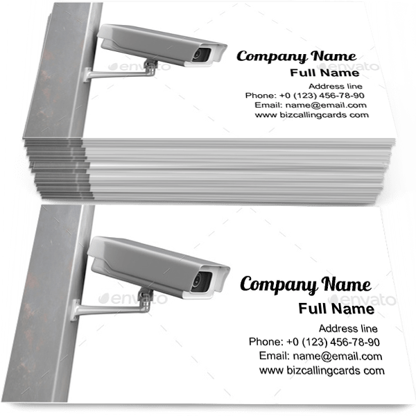 Sample of CCTV Security Camera  calling card design for advertisements marketing ideas and promote surveillance branding identity